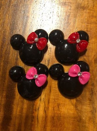 4 X 35MM MINNIE MOUSE HEAD + BOW  FLAT BACK RESIN HAIR BOWS HEADBANDS